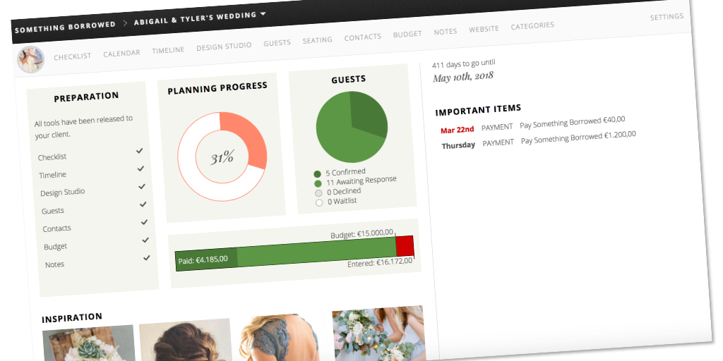 Wedding planner tool - Dashboard